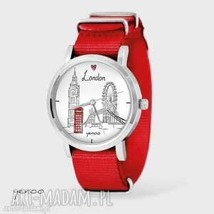 Prezent Zegarek, bransoletka - Londyn czerwony, nato, zegarek, bransoletka, nato
