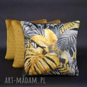 ręcznie wykonane poduszki komplet 3 poduszek liście musztarda 45x45cm welur