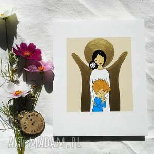 anioł stróż dla chłopca blond, anoł stróż, komunia święta, chłopca, pamiątka