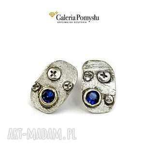 Niebieska cyrkonia, sztyfty, srebro, 925