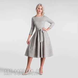 sukienki sukienka marie 3/4 midi melanż szary, sukienka, midi, rozkloszowana