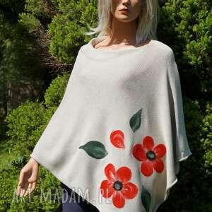 Beżowe ponczo z wzorem filcowym poncho hermina bawełniane