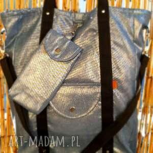 duża shopperka niebieski szron, shopperbag, handmade, torebka