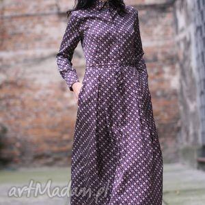 monika jaworska sukienka jedwabna koszulowa, jedwab, guziki, maxi