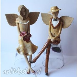 anioły para siedząca 4, anioły, anioł, aniołek, para