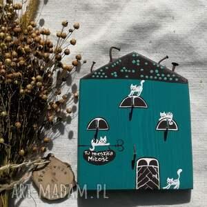 turkusowy domek z kotami - wieszak na klucze no 5, dom domek, kot koty