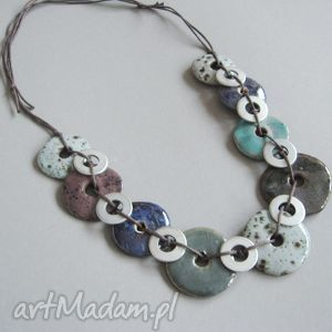 naszyjnik awangardowa przeplatanka - biżuteria, naszyjnik, ceramika, metal, prezent