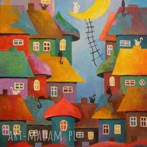 obraz na płótnie - bajkowe miasteczko 30/40 cm, abstrakcja, domki, obraz, koty