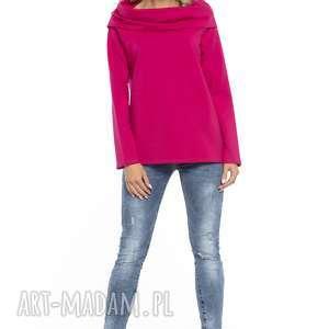 Bluza z szerokim kominem, T255, fuksja, bluza, szeroki, komin, dzianina, bawełniana