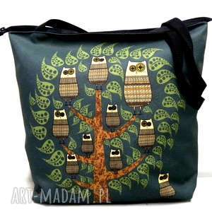 święta, torba na zamek z sowami, xxl, sowa, torebka, pojemna, duża