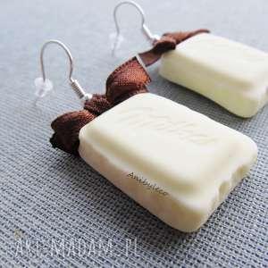 Kolczyki - biała czekoladka anibyleco kolczyki, modelina, masa,