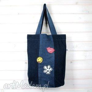 handmade dżinsowa torba z naszywkami na ramię bardzo pojemna