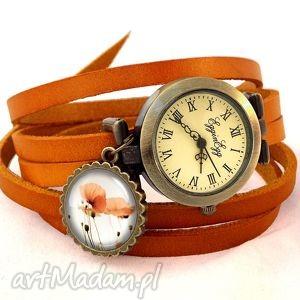handmade zegarki maki - zegarek/bransoletka na skórzanym pasku
