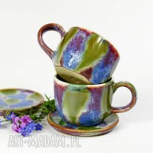 ceramika zestaw kubeczków do espresso z uchem talerzykami 2 szt