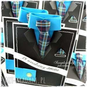 GARNITUR MĘSKI - KARTKA, garnitur, koszula, krawat, kratka, kartka, dla-niego