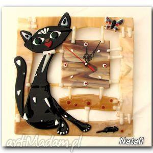 zegary artystyczna kompozycja ze szkła - zegar kot filemon, szklo, kotek, zegary, dom