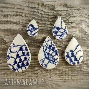 hand-made magnesy ceramiczne kropla wody z fakturą koronki