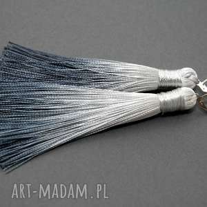 klipsy z chwostami, sznurek, eleganckie, wiszące, stalowe, grafitowe, cieniowane