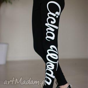 legginsy sportowe czarne getry z fajnym napisem na fitness siłownie