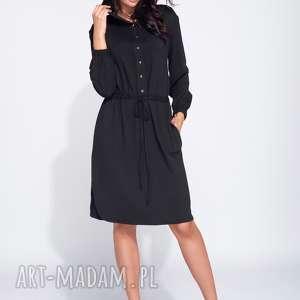 Koszulowa sukienka casual z kapturem na długi rękaw, dzienna, koszulowa, z-kapturem