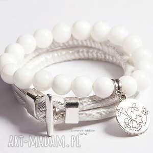 bransoletki white silver, kule, zawieszka, posrebrzane, komplet, rzemień, prezent