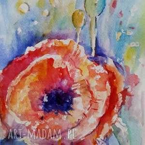 akwarela - mak 18/24 cm, akwarela, kwiaty, mak, czerwień
