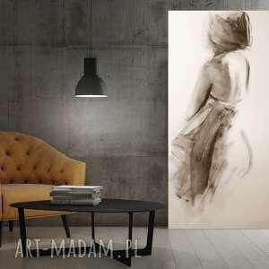 dom zarys kobiety, duży obraz do salonu, kobieta duża grafika, rysunek węglem