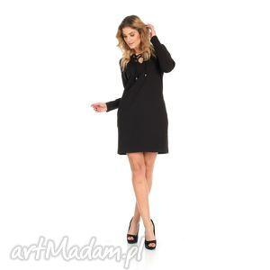 sukienki 46-sukienka sznurowany dekolt,czarna,rękaw długi, lalu, sukienka, dzianina