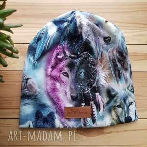 czapki kolorowa czapka z motywem wilka, czapka, beanie, kolorowa, wilk, ciepła