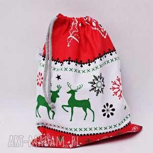 worek na prezenty prezentowy świąteczny sweterek biały rozmiar m