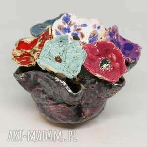 flower box kwiaty ceramiczne i donica piękny duży wyjątkowy komplet handmade