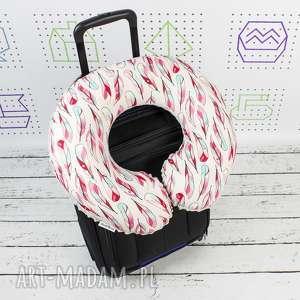 poduszka podróżna piórka mc, zagłówek, rogal, haft, poduszka, podróżna, prezent