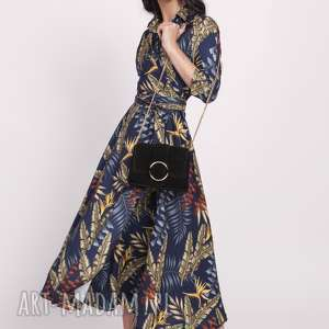 sukienki długa sukienka, suk171 liście granat