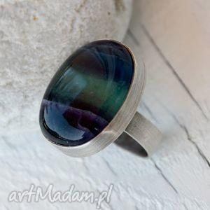 surowy pierścionek z fluorytem b836 - pierścionek, oryginalny, srebrny, piekny