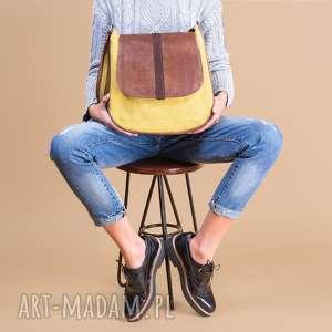 sashka - torebka na ramię musztarda i brąz, listonoszka, prezent, niebanalna, modna