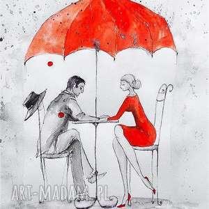Praca akwarelą i piórkiem W DESZCZU artystki plastyka Adriany Laube, deszcz, parasol
