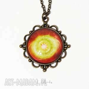 medalion, talizman - czakra serca antyczny brąz, duży, naszyjnik, medalion