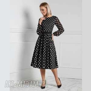 sukienka roma midi donata grochy duże, midi, rozkloszowana, grochy, pasek
