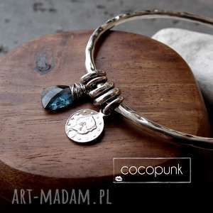 bransoleta z zawieszkami - srebro i kianit, niebieska, srebrna morska