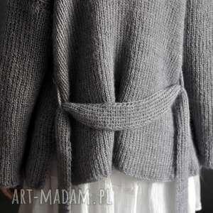swetry kardigan gray kid mohair, kardigan, sweter, na drutach, kobiecysweterek