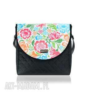 na ramię torebka puro 2055 colored flowers, pojemna, zgrabna, mała, torebkawkwiaty