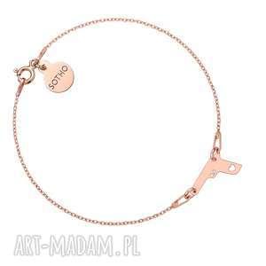 bransoletka z różowego złota pistoletem, bransoletka, różowa, pistolet
