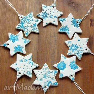 ręcznie robione prezenty na święta ceramiczne śnieżynki