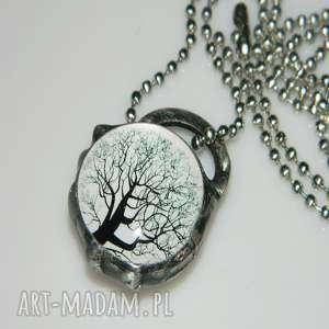 szklany wisior-drzewo, wisior, wisior-miedziany, unikalna-biżuteria, unikalny-wisior