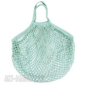 torba na zakupy siatka bawełniana paryżanka prl miętowa, eko, dla niej