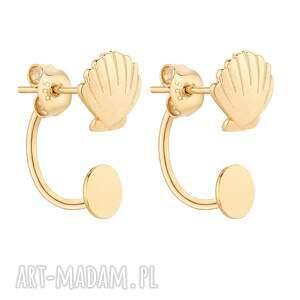 złote kolczyki z muszelkami, kolczyki, zaucho, eleganckie, pozłacane, 925, gold