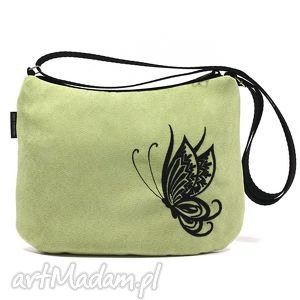 torebka black butterfly on light green, motyl, zamsz, haft, alcantara