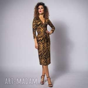 sukienki monica gold zebra, kopertowa, elastyczna, jersey