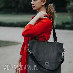 handmade torebki duża szara zamszowa torba