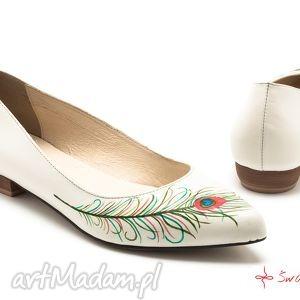 ręcznie robione buty baleriny pawie oko